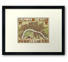 Vintage Map of London England (16th Century) Framed Print