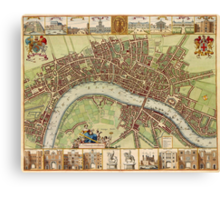 Vintage Map of London England (16th Century) Canvas Print