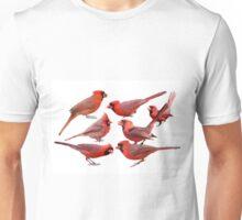 Seven Red Birds A Chirping Unisex T-Shirt