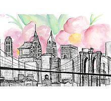 New York City Skyline Watercolor Photographic Print