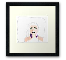 blue lips white hair girl   Framed Print