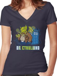 Dr. Cthulwho Women's Fitted V-Neck T-Shirt