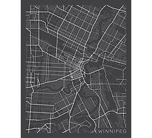 Winnipeg Map, Canada - Gray Photographic Print