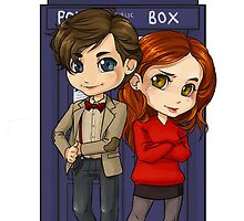Chibi 11th Doctor and Amy Pond by elliem-