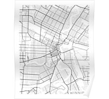 Winnipeg Map, Canada - Black and White Poster