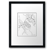 Halifax Map, Canada - Black and White Framed Print