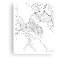 Halifax Map, Canada - Black and White Canvas Print