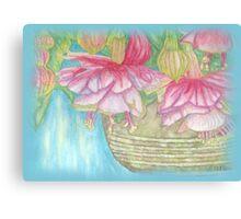 Fuschia Basket Misted Watercolor  Canvas Print