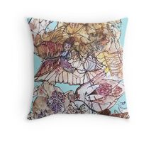 Fairy Trumpet and Butterfly at the Bottom of the Garden  Throw Pillow