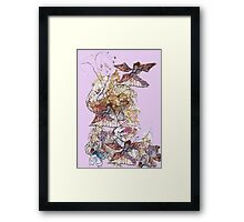 Fairy Trumpet and Butterfly at the Bottom of the Garden  Framed Print