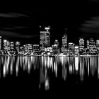 Perth Skyline At Night - B&W by Sandra Chung