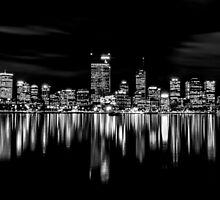 Perth Skyline At Night - B&W by Sandra Chung