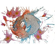 Watercolor Koi Fish Yin Yang Photographic Print