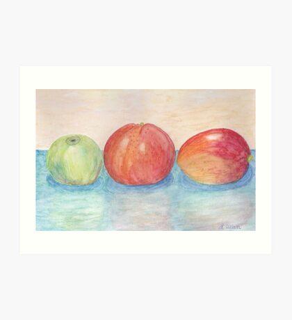 Apple Orange and Mango Watercolor  Art Print