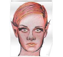 Elven Twiggy Ink Portrait Poster