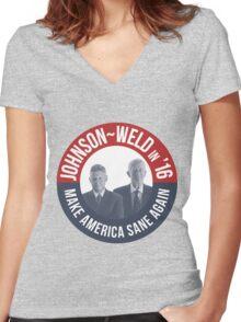 Gary Johnson Weld Make America Sane Again Women's Fitted V-Neck T-Shirt