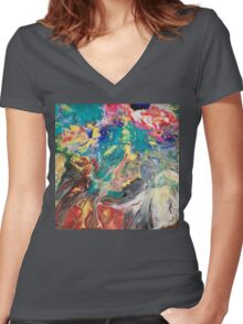 Abstract blown color Women's Fitted V-Neck T-Shirt