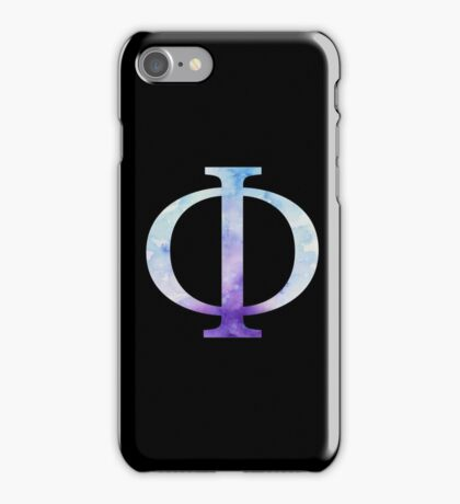 Blue Phi Watercolor Letter iPhone Case/Skin