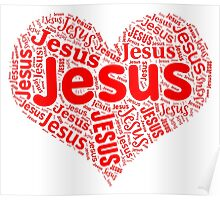 Jesus - Red Heart Poster