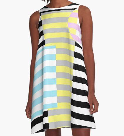 Grafik (Streifen und Farben) A-Line Dress