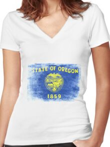 Oregon State Flag Distressed Vintage Shirt Women's Fitted V-Neck T-Shirt