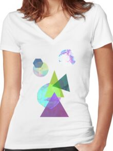 Abstract 5 Women's Fitted V-Neck T-Shirt
