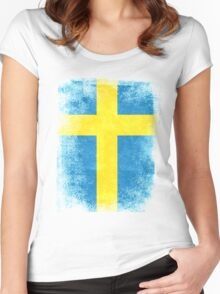 Sweden Flag Proud Swedish Vintage Distressed Shirt Women's Fitted Scoop T-Shirt