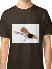 Human hand holding beagle's leg Classic T-Shirt