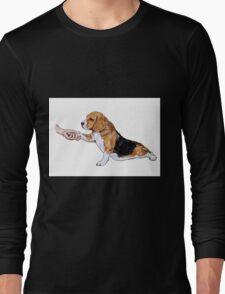 Human hand holding beagle's leg Long Sleeve T-Shirt