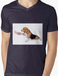 Human hand holding beagle's leg Mens V-Neck T-Shirt