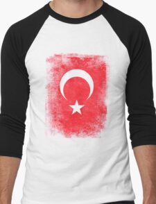 Turkey Turkish Flag Vintage Distressed T-Shirt Men's Baseball ¾ T-Shirt