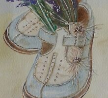 Blue shoes and lavender by Sonja Peacock