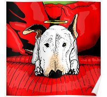 Bull terrier with a halo on the couch Poster