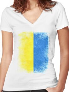 Ukraine Flag Proud Ukranian Vintage Distressed Shirt Women's Fitted V-Neck T-Shirt