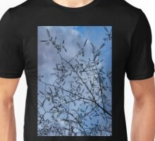 Graceful Lace in the Sky - Mimosa Leaves and Buds Against Dusk Clouds - Vertical View Upwards Right Unisex T-Shirt