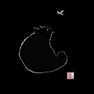 Black cat silhouette and dragonfly by Mary Taylor