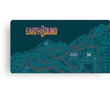 Earthbound - Onett Cliffs at Night with Logo Canvas Print