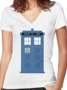 TARDIS - Doctor Who - Police Box Women's Fitted V-Neck T-Shirt