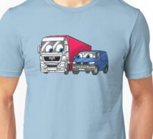 Red Lorry with Blue Van Unisex T-Shirt