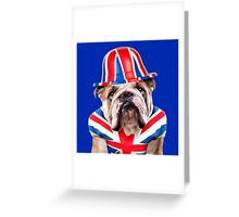 Patriotic Bulldog wearing Union Jack Hat Greeting Card