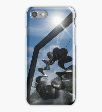 Spiral Sculpture Fountain with a Sun Flare iPhone Case/Skin