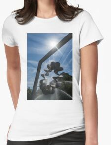 Spiral Sculpture Fountain with a Sun Flare Womens Fitted T-Shirt