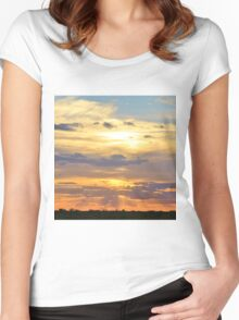 Sunset Background - Tranquil Harmony of Beauty  Women's Fitted Scoop T-Shirt