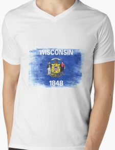 Wisconsin State Flag Distressed Vintage Shirt Mens V-Neck T-Shirt