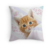 Cute Ginger Tabby kitten Throw Pillow