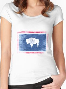Wyoming State Flag Distressed Vintage Shirt Women's Fitted Scoop T-Shirt