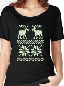 Moose Pattern Christmas Women's Relaxed Fit T-Shirt