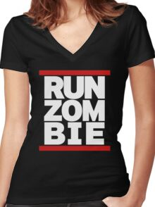 run zombie Women's Fitted V-Neck T-Shirt