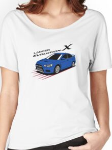 Mitsubishi Lancer Evolution X (blue) Women's Relaxed Fit T-Shirt