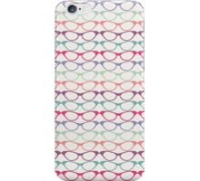 Cat Eye Glasses Pattern - Retro Waves of Color iPhone Case/Skin